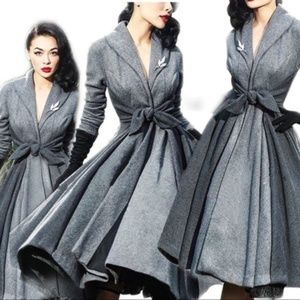 Pin Up Vintage Style Gray Rockabilly Over Coat